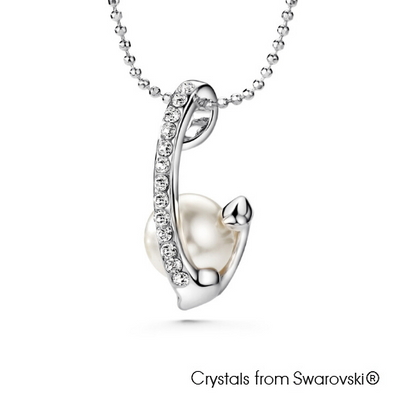 Curvy Swarovski Pearl Necklace Clear Crystal Pure Rhodium Plated Lush Addiction Crystals from Swarovski