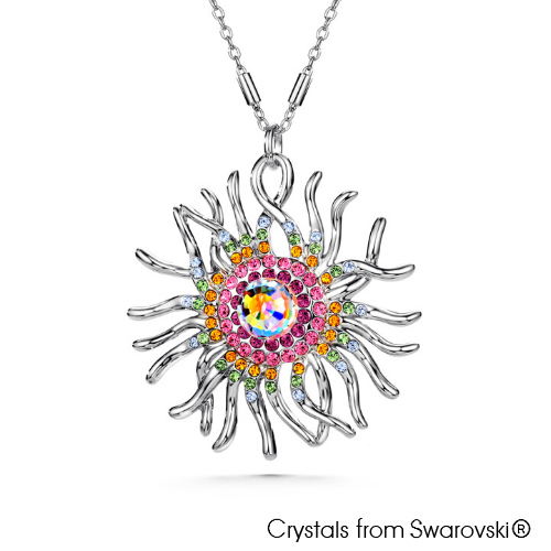 Jellyfish Necklace Multi Colour Pure Rhodium Plated Lush Addiction Crystals from Swarovski