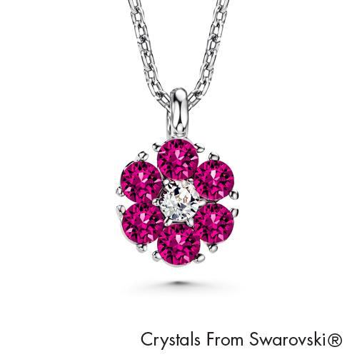 Flower Birthstone Necklace (Amethyst, Pure Rhodium Plated) - Lush Addiction, Crystals from Swarovski