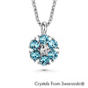Flower Birthstone Necklace (Aquamarine, Pure Rhodium Plated) - Lush Addiction, Crystals from Swarovski