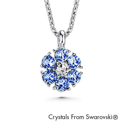 Flower Birthstone Necklace (Light Sapphire, Pure Rhodium Plated) - Lush Addiction, Crystals from Swarovski
