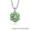 Flower Birthstone Necklace (Peridot, Pure Rhodium Plated) - Lush Addiction, Crystals from Swarovski