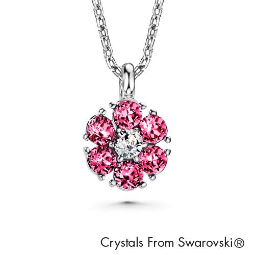 Flower Birthstone Necklace (Rose, Pure Rhodium Plated) - Lush Addiction, Crystals from Swarovski