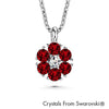 Flower Birthstone Necklace (Ruby, Pure Rhodium Plated) - Lush Addiction, Crystals from Swarovski