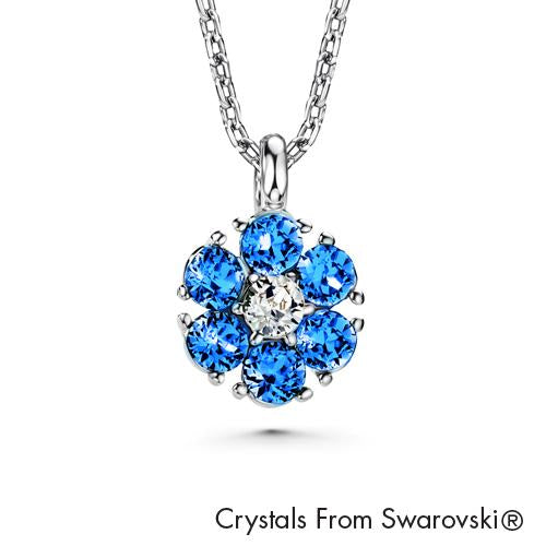 Flower Birthstone Necklace (Sapphire, Pure Rhodium Plated) - Lush Addiction, Crystals from Swarovski