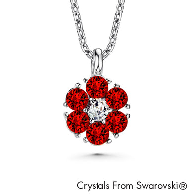 Flower Birthstone Necklace (Garnet, Pure Rhodium Plated) - Lush Addiction, Crystals from Swarovski