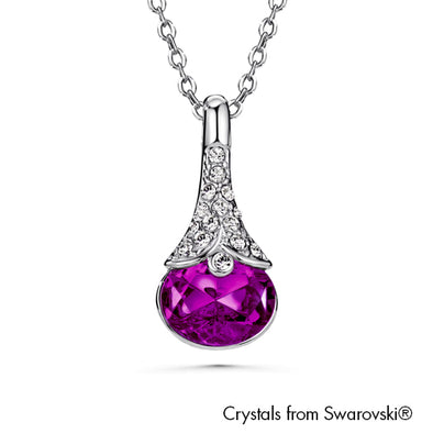Sara Necklace Amethyst Pure Rhodium Plated Lush Addiction Crystals from Swarovski