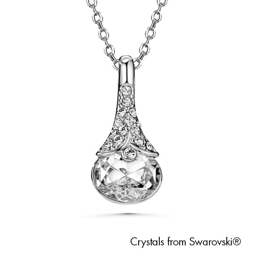 Sara Necklace Clear Crystal Pure Rhodium Plated Lush Addiction Crystals from Swarovski