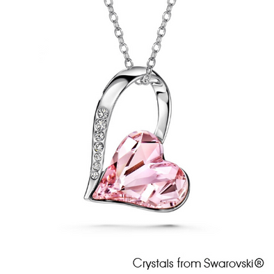 Amanda Necklace (Rosaline, Pure Rhodium Plated) - Lush Addiction, Crystals from Swarovski®