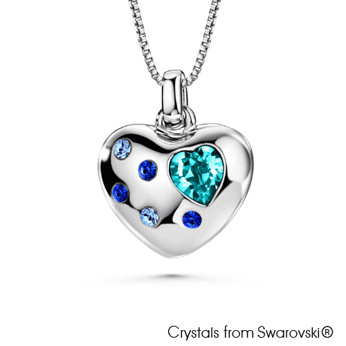 Valentine Necklace (Aquamarine, Pure Rhodium Plated) - Lush Addiction