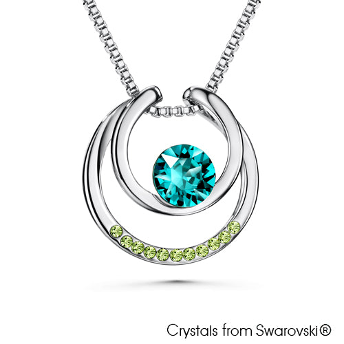 Amari Necklace (Blue Zircon, Pure Rhodium Plated)- Lush Addiction, Crystals from Swarovski®