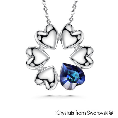Devoted Necklace (Bermuda Blue, Pure Rhodium Plated) - Lush Addiction, Crystals from Swarovski®
