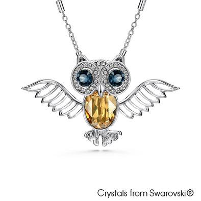 Wisdom Owl Necklace (Pure Rhodium Plated) - Lush Addiction, Crystals from Swarovski®