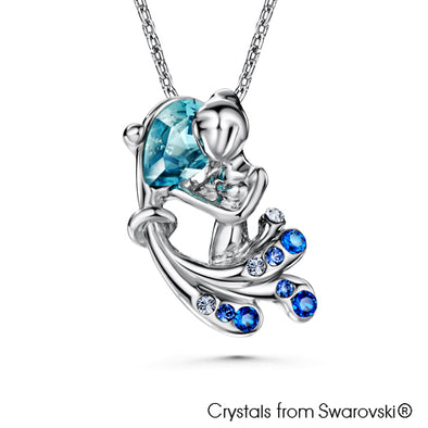 Aquarius Horoscope Necklace (Pure Rhodium Plated) - Lush Addiction, Crystals from Swarovski®