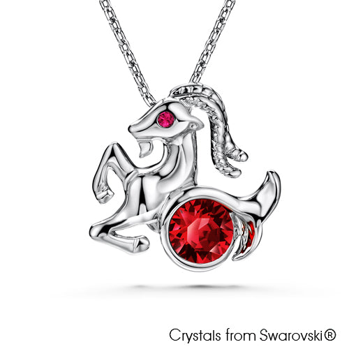 Capricorn Horoscope Necklace (Pure Rhodium Plated) - Lush Addiction, Crystals from Swarovski®