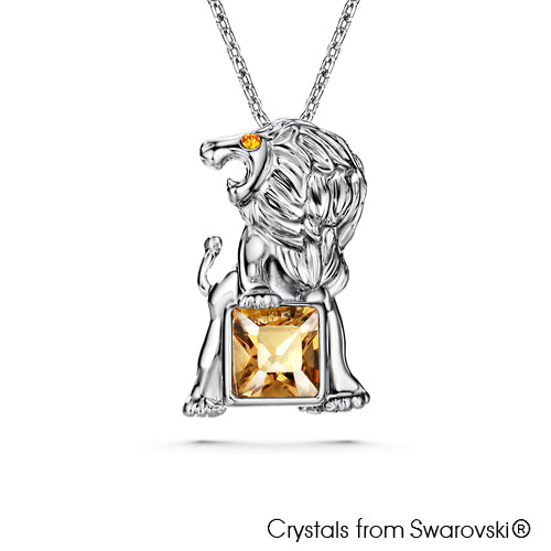 Leo Horoscope Necklace (Pure Rhodium Plated) - Lush Addiction, Crystals from Swarovski®