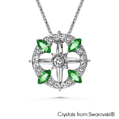 Clover Necklace (Peridot, Pure Rhodium Plated) - Lush Addiction, Crystals from Swarovski