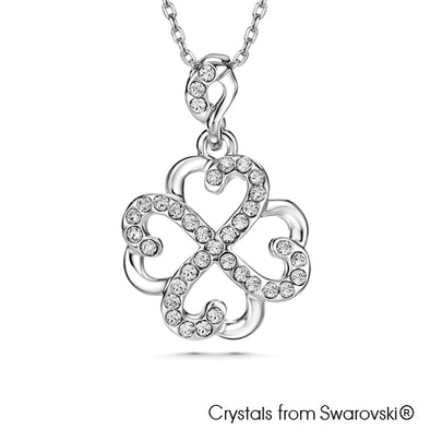 Lovable Clover Necklace Clear Crystal Pure Rhodium Plated Lush Addiction Crystals from Swarovski