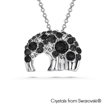 Elephant Hill Necklace (Jet, Pure Rhodium Plated) - Lush Addiction, Crystals from Swarovski®