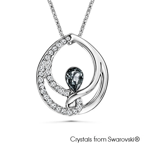 Binding Teardrop Necklace (Crystal Blue Shade, Pure Rhodium Plated) - Lush Addiction, Crystals from Swarovski®