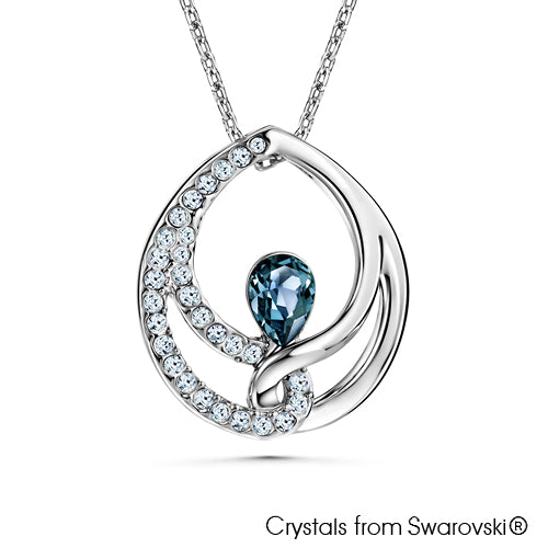 Binding Teardrop Necklace (Denim Blue, Pure Rhodium Plated) - Lush Addiction, Crystals from Swarovski®