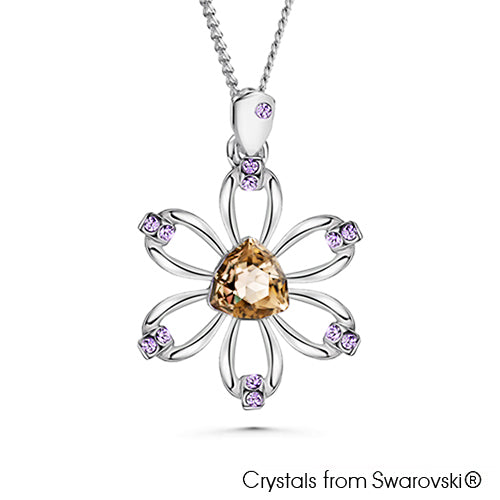 Clematis Necklace Crystal Golden Shadow Pure Rhodium Plated Lush Addiction Crystals from Swarovski