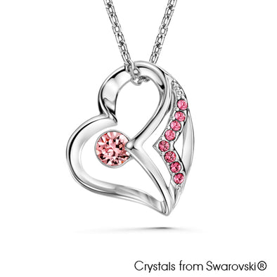 Devoted Heart Necklace Light Rose Pure Rhodium Plated Lush Addiction Crystals from Swarovski