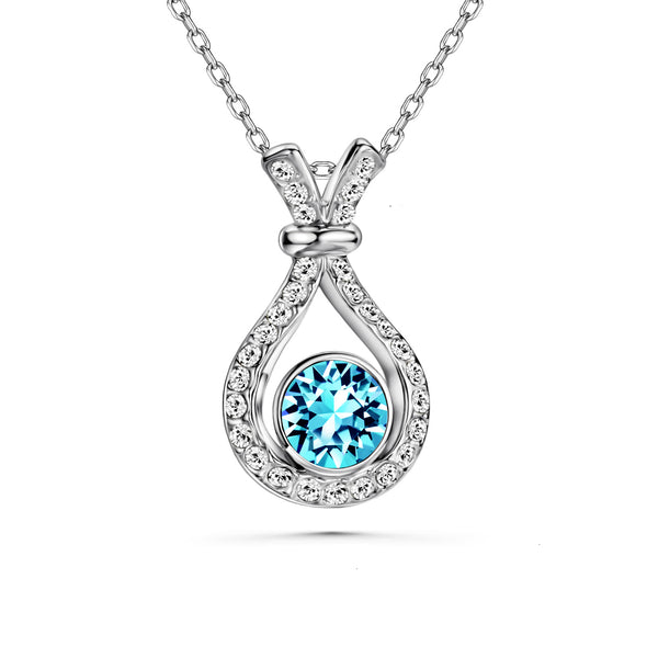Abundance Necklace (Aquamarine Blue, Pure Rhodium Plated) - Lush Addiction, Crystals from Swarovski®