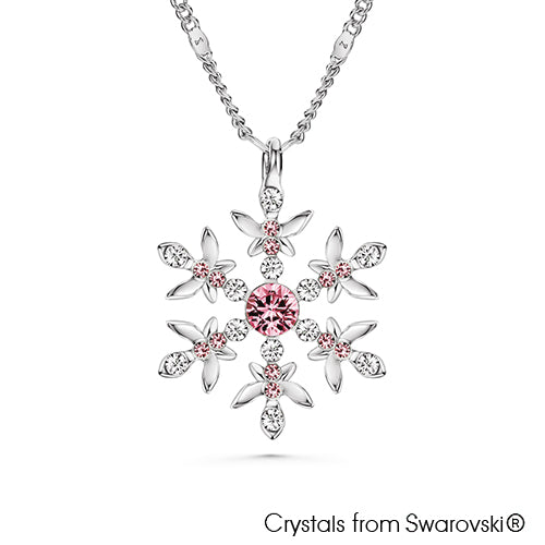 Snowflake Necklace (Light Rose, Pure Rhodium Plated) - Lush Addiction, Crystals from Swarovski®