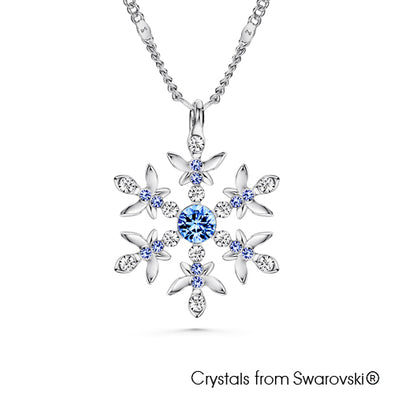 Snowflake Necklace (Light Sapphire, Pure Rhodium Plated) - Lush Addiction, Crystals from Swarovski®