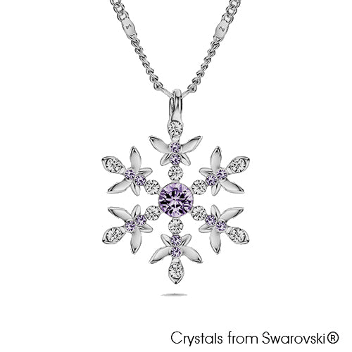 Snowflake Necklace (Violet, Pure Rhodium Plated) - Lush Addiction, Crystals from Swarovski®