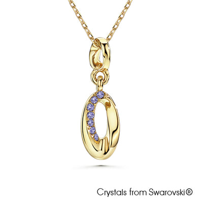 Ellipse Necklace (Tanzanite, 18K Gold Plated) - Lush Addiction, Crystals from Swarovski®