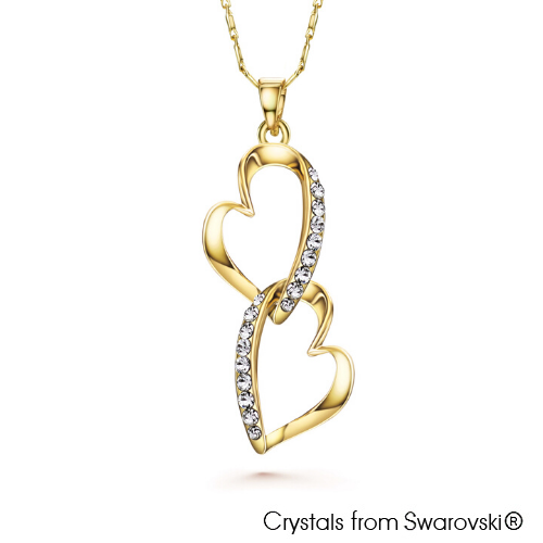 Symona Necklace (Clear Crystal, 18K Gold Plated) - Lush Addiction, Crystals from Swarovski