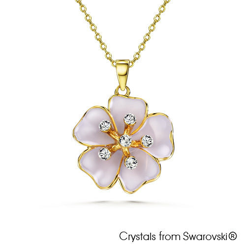 Sakura Necklace (Amethyst Purple, 18K Gold Plated) - Lush Addiction, Crystals from Swarovski