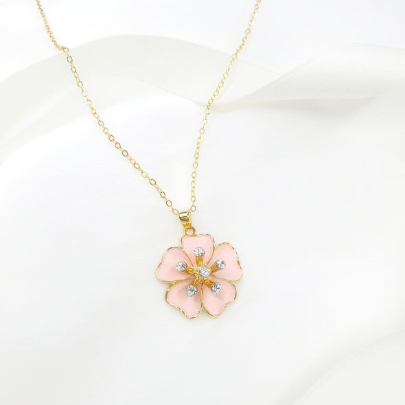 Sakura Necklace (Rose Pink, 18K Gold Plated) - Lush Addiction, Crystals from Swarovski