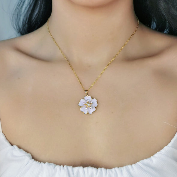 Sakura Necklace (Clear Diamond, 18K Gold Plated) - Lush Addiction, Crystals from Swarovski