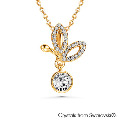 Butterfly Necklace (Clear Crystal, 18K Gold Plated) - Lush Addiction, Crystals from Swarovski