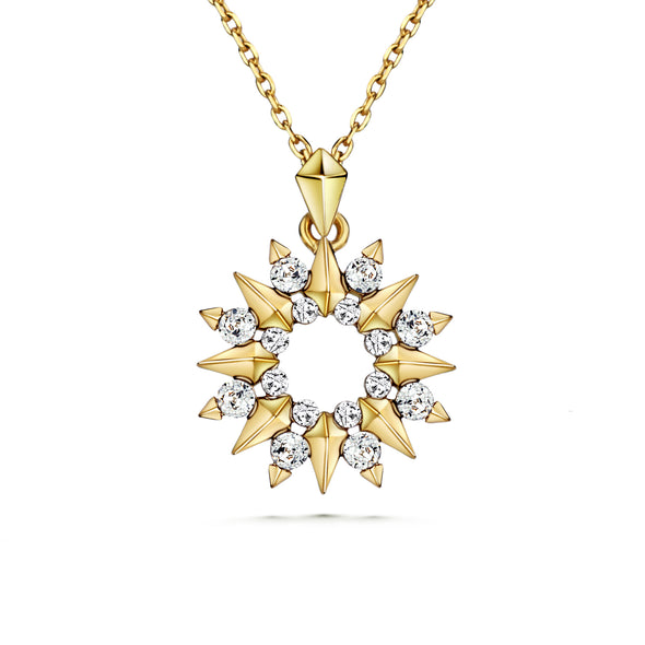 Sunray Necklace (Clear Diamond, 18K Gold Plated) - Lush Addiction, Crystals from Swarovski