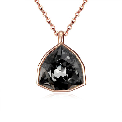 Trilliant Night Necklace (Midnight Black, Rose Gold Plated) - Lush Addiction, Crystals from Swarovski