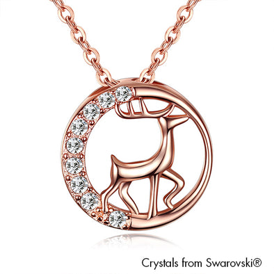 Reindeer Necklace (Clear Crystal, Rose Gold Plated) - Lush Addiction, Crystals from Swarovski®