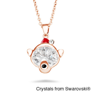 Bear Necklace (Clear Crystal, Rose Gold Plated) - Lush Addiction, Crystals from Swarovski®