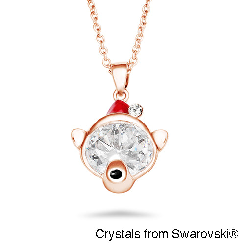 Bear Necklace (Clear Crystal, Rose Gold Plated) - Lush Addiction