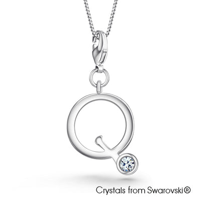 Alphabet Q Charm Necklace (Clear Crystal, Pure Rhodium Plated) - Lush Addiction, Crystals from Swarovski®