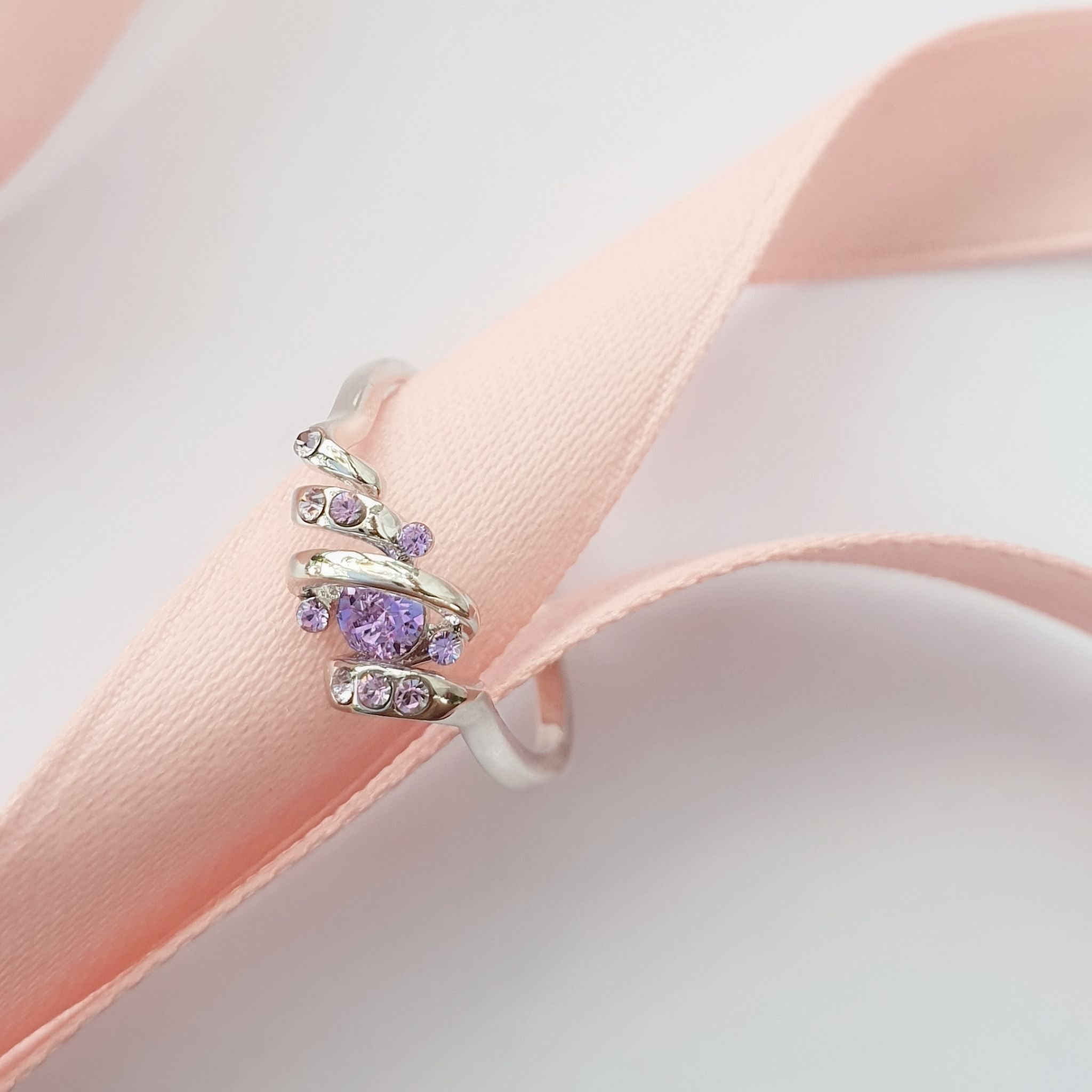 Ballerina Ring (Violet Purple, Pure Rhodium Plated) - Lush Addiction, Crystals from Swarovski