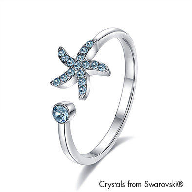 Starfish Ring Aquamarine Pure Rhodium Plated Lush Addiction Crystals from Swarovski