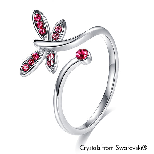 Dragonfly Ring Rose Pure Rhodium Plated Lush Addiction Crystals from Swarovski
