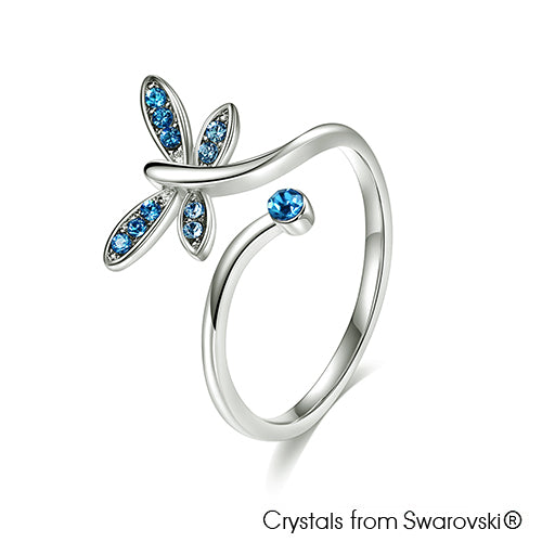 Dragonfly Ring Sapphire Pure Rhodium Plated Lush Addiction Crystals from Swarovski