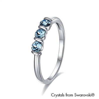 Kay Ring Aquamarine Pure Rhodium Plated Lush Addiction Crystals from Swarovski
