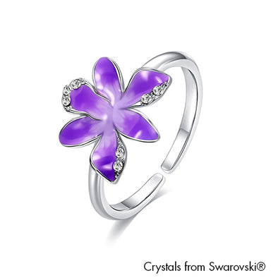 Cattleya Ring Tanzanite Pure Rhodium Plated Lush Addiction Crystals from Swarovski