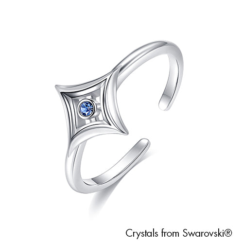 Diamanto Ring Pure Light Sapphire Rhodium Plated Lush Addiction Crystals from Swarovski